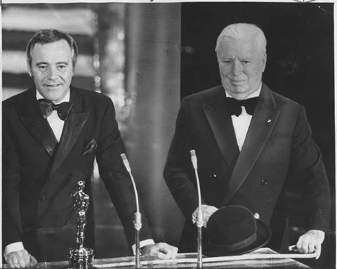 Here's a wonderful Los Angeles Times photo of Jack Lemmon presenting Charlie Chaplin with his honorary Oscar in 1972