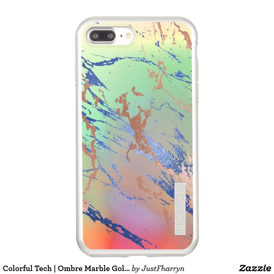 brand new d4453 3da7d Colorful Tech | Ombre Marble Gold Blue Glitter Incipio iPhone Case ...