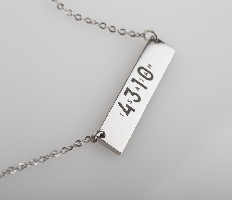 Very trendy and fashionable personalized horizontal bar pendant.  The engraving on this item is visible making ISAIAH 4310 recognisable to others around you.