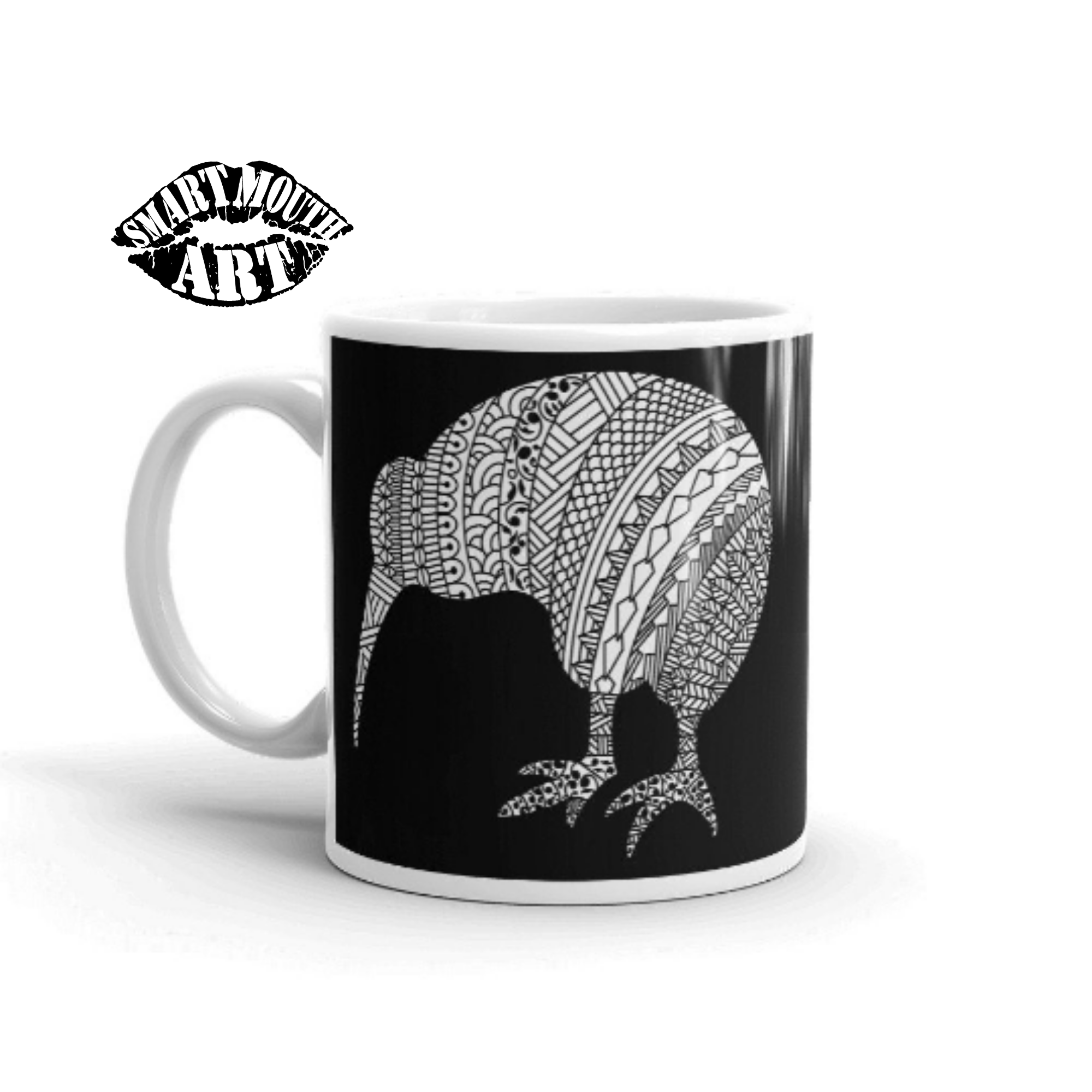 Mandala Design, New Zealand Kiwi Bird Coffee Mug, Drawn by