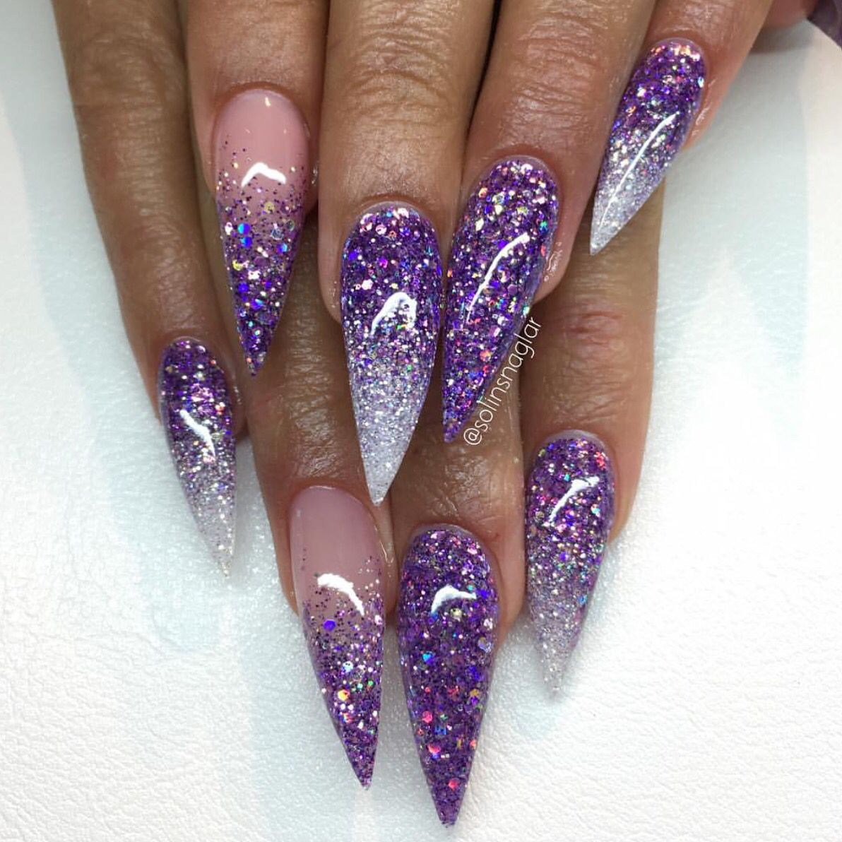 Pintereѕt Sara Legito Purple Acrylic Nails Purple Glitter