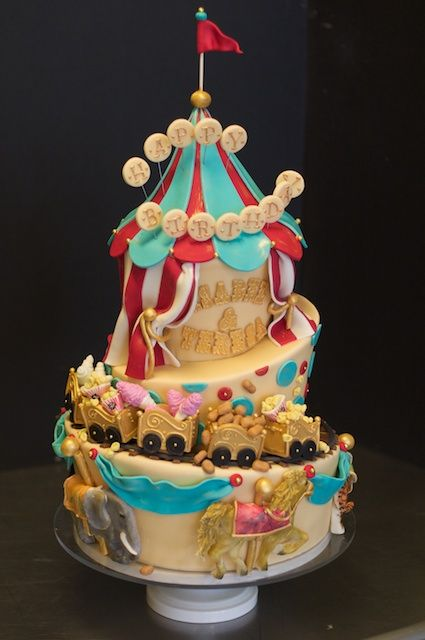 Remarkable Elaborate Childs Birthday Cake With Circus Theme Studio Cake Personalised Birthday Cards Akebfashionlily Jamesorg