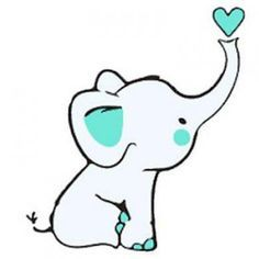 Baby Elephant With Heart Tattoo Design