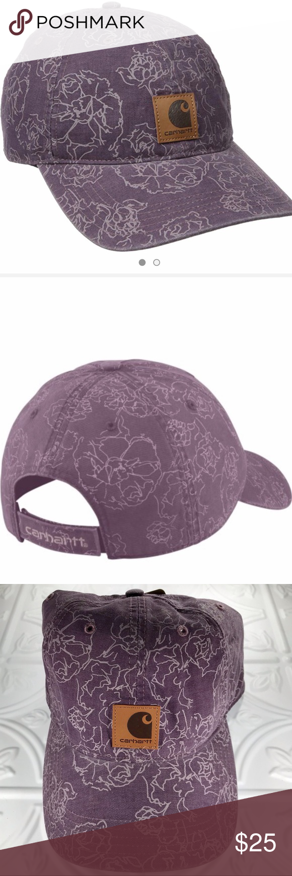 Carhartt Women Floral Print Baseball Hat Outdoor Carhartt Women Purple Floral Baseball Hat  New with Tags  Color: Purple with Gray Floral Print  Size: One Size Fits All   Carhartt Force Sweatband Fights Odors FastDry technology for quick wicking of sweat Adjustable Velcro closure  Carhartt logo sewn on front Light structure  Medium profile Pre-curved visor 100% Cotton Carhartt Accessories Hats #carharttwomen