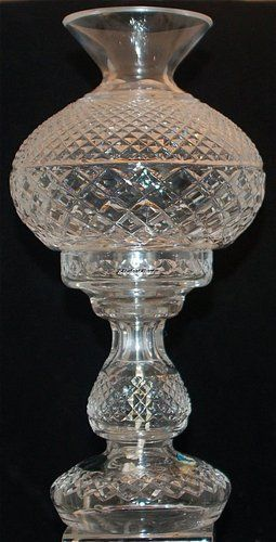 VINTAGE SIGNED WATERFORD CRYSTAL TWO PIECE ELECTRIC HURRICANE LAMP WITH  SHADE