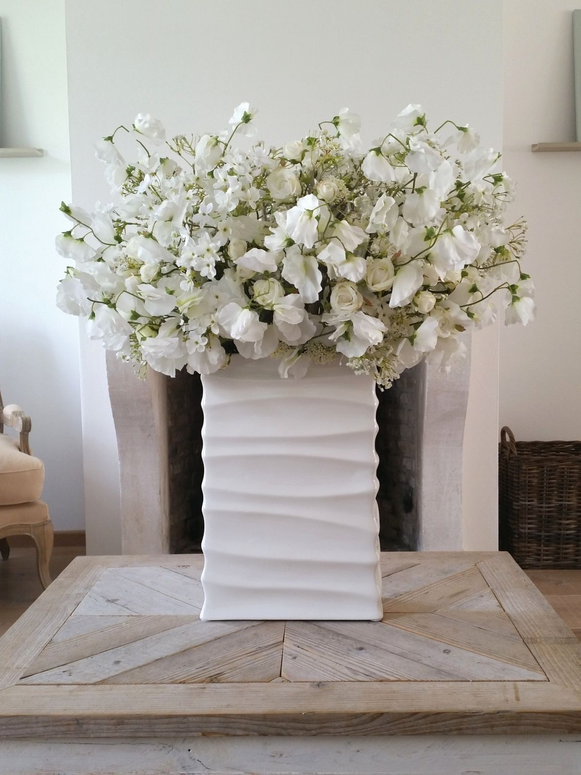 Large White Vase With Bouquet Of Artificial White Flowers Flower