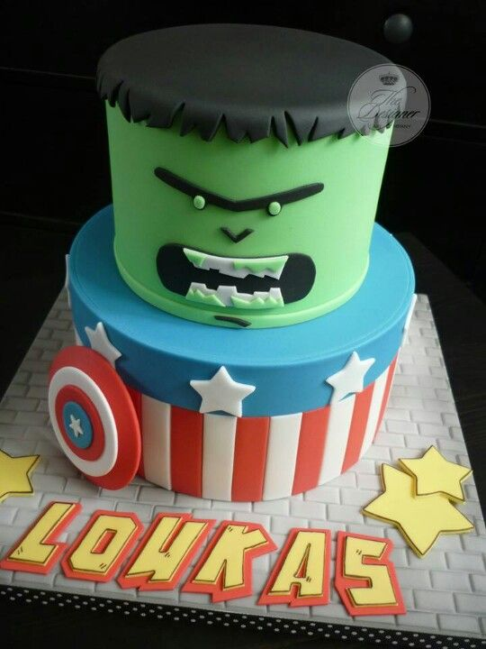 Boys Cake Marvel Hulk Captain America Disney Cakes