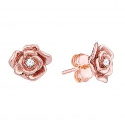 10k Rose And White Gold Rose Ring Gold Bar Earrings Rose Gold Earrings Flower Earrings Studs