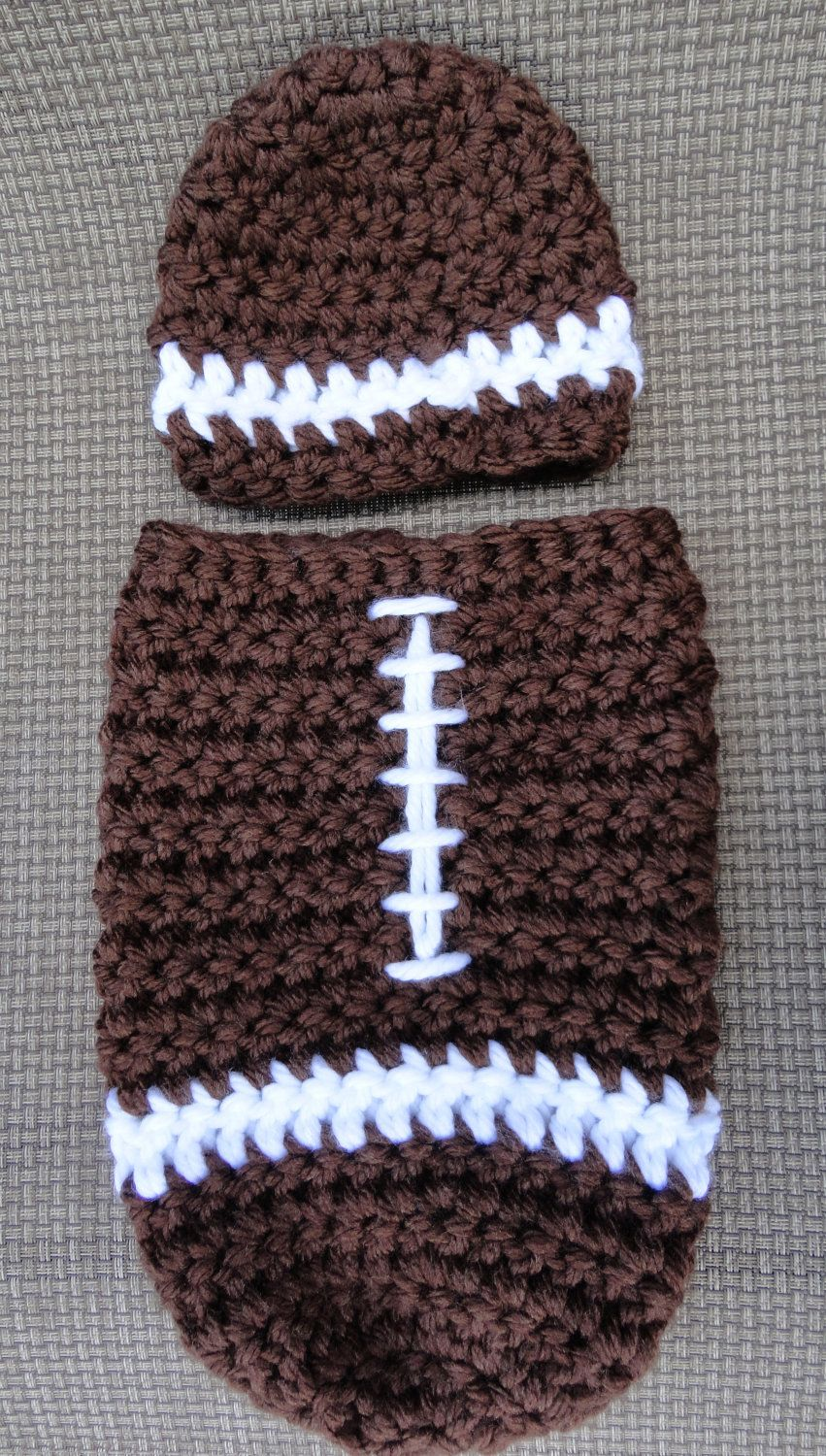 Football Cocoon and Hat Crochet... I don\'t have kids nor want them ...