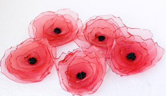 Red Fabric Poppy Flower Handmade  Bridesmaids by WanderlustbyGG