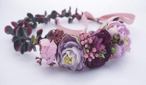 Pol Wianek Na Glowe W Odcieniach Bordo Bella Flora Atelier Akcesoria Do Wlosow Jewelry Crown Jewelry Accessories