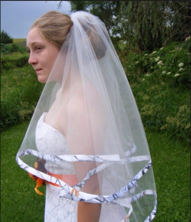 Cheap 2016 Hot Sale White Camo Bridal Veils Two Layer Realtree Wedding With Comb
