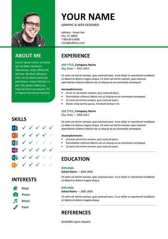 Bayview Free Resume Template Microsoft Word  Green Layout