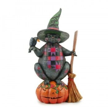 Jim Shore-Wicked Kitty-Halloween Cat Figurine Figures, Figurines - halloween statues