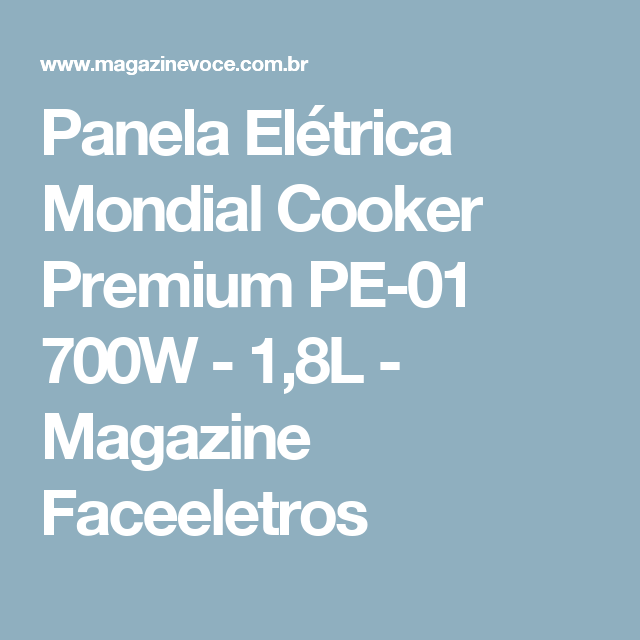 38abcbc11 Panela Elétrica Mondial Cooker Premium PE-01 700W - 1