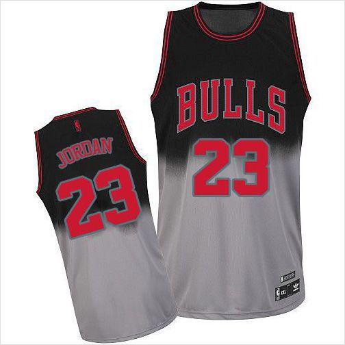online store 128e0 0d285 Mens Chicago Bulls Michael Jordan 23 Black/Grey Fadeaway ...