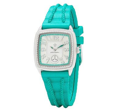Judith Ripka Stainless Steel & Pearlized Silicone Strap Watch