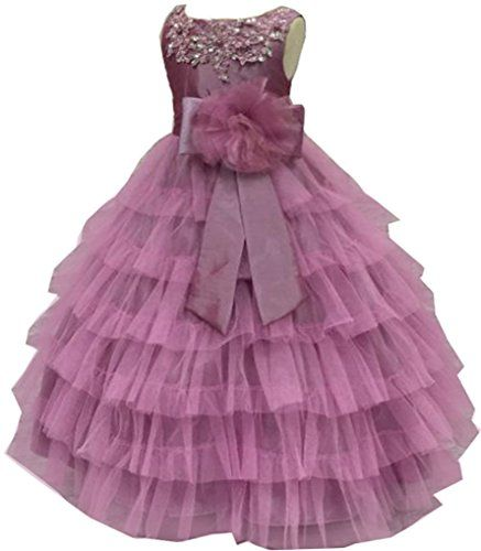 75e4276d064 Shiny Toddler Little Big Girls Embroidered Beaded Flower Girl Birthday  Party Gown with Petticoat