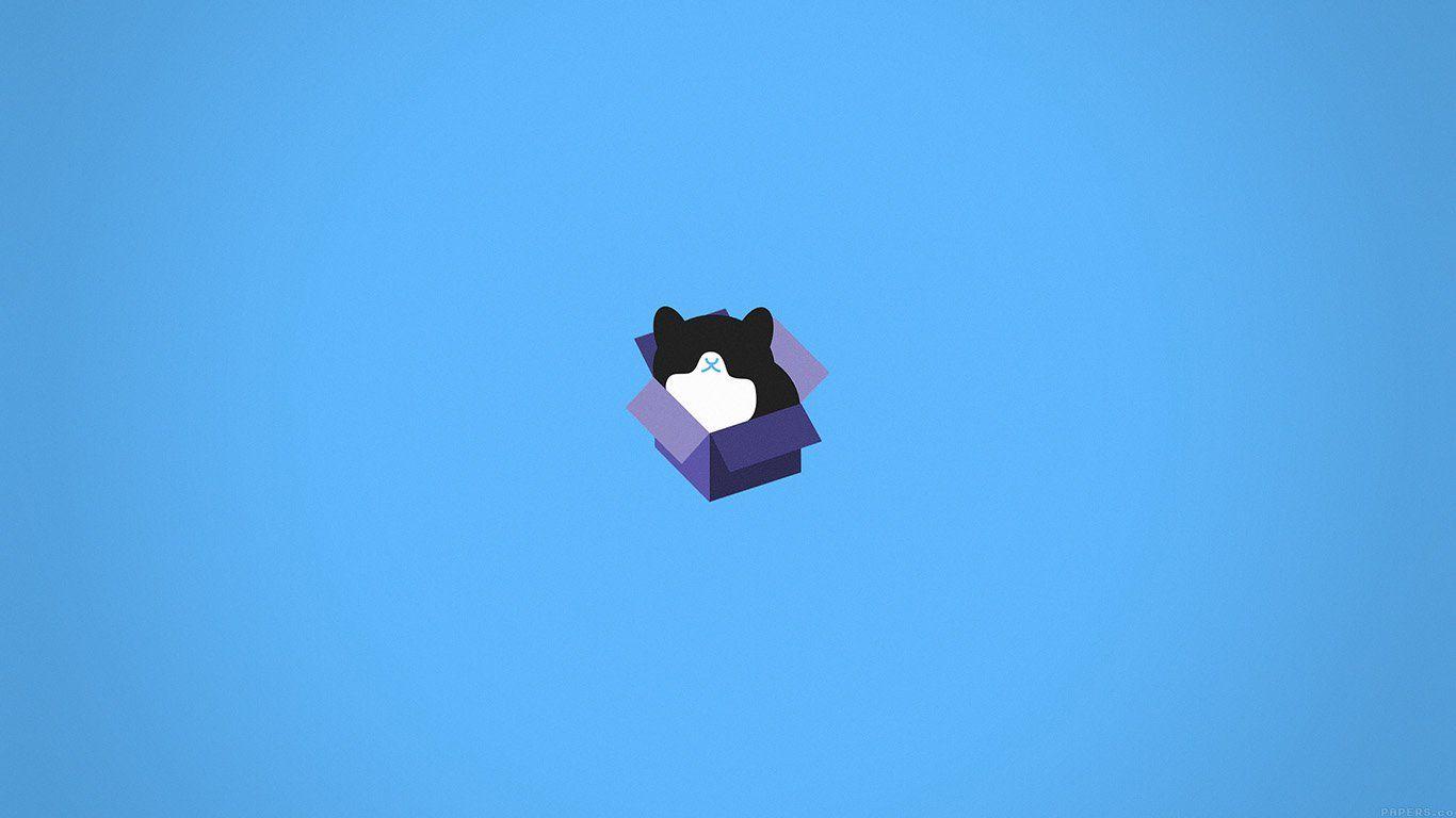 Aj74 Cat Box Blue Illust Animal Art Minimal