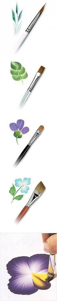 Watercolor Flowers And Paint Brushes: One Stroke Painting Example For Flowers And Leaves. Easy