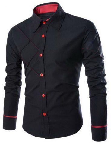 Fashion Shirt Collar Slimming Checked Sutures Design Long Sleeve Polyester Shirt For MenShirts | RoseGal.com