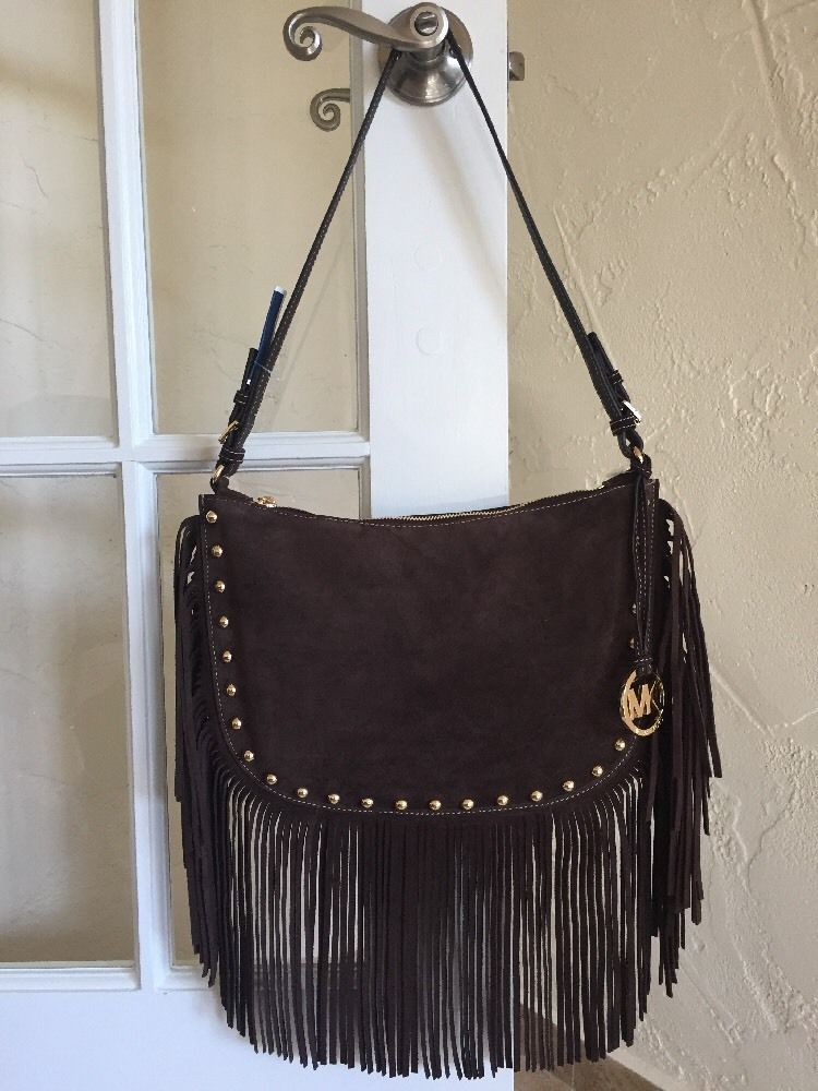 Michael Kors Dakota Medium Hobo Coffee Brown Suede Fringe Studs Boho Ebay Handbags Michael