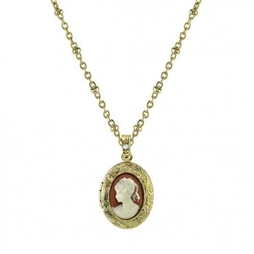 Downton Abbey® Boxed Gold-Tone Oval Cameo Locket Necklace
