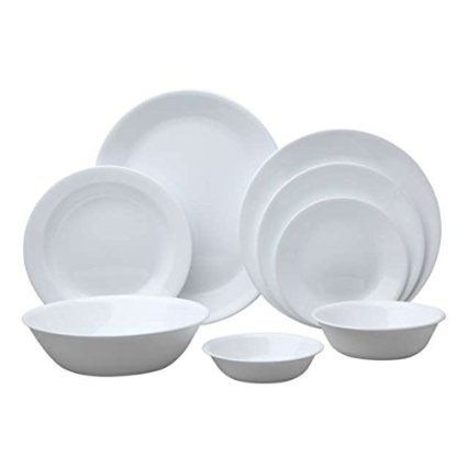 Amazon Com Corelle Livingware 76 Piece Dinnerware Set Service For 12 Winter Frost White Home Kitche Corelle Dinnerware Set Dinnerware Set Dinnerware Sets White dinnerware sets for 12