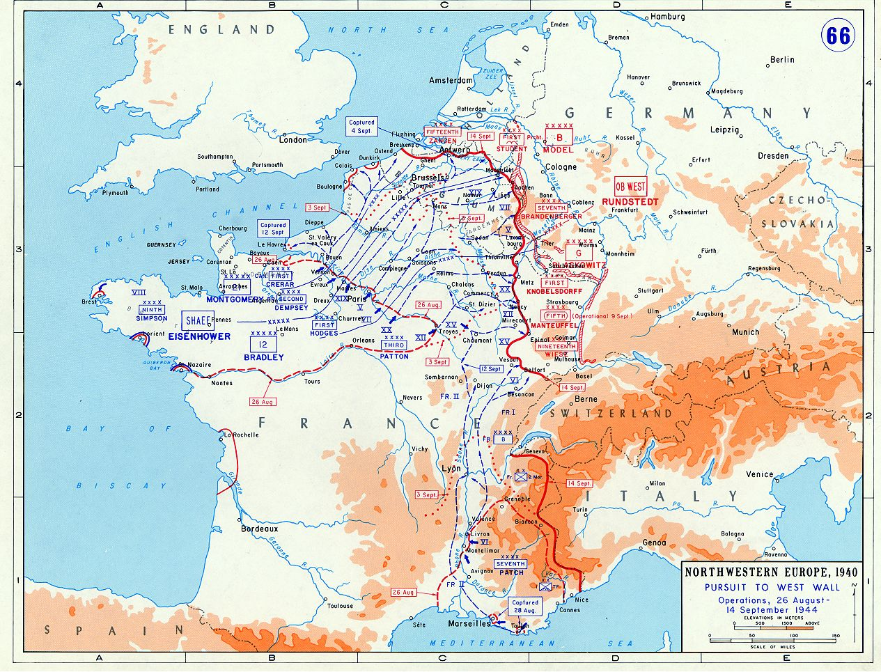 Map Of The Allied Campaign In Northwest Europe Aug Sept - Us front map