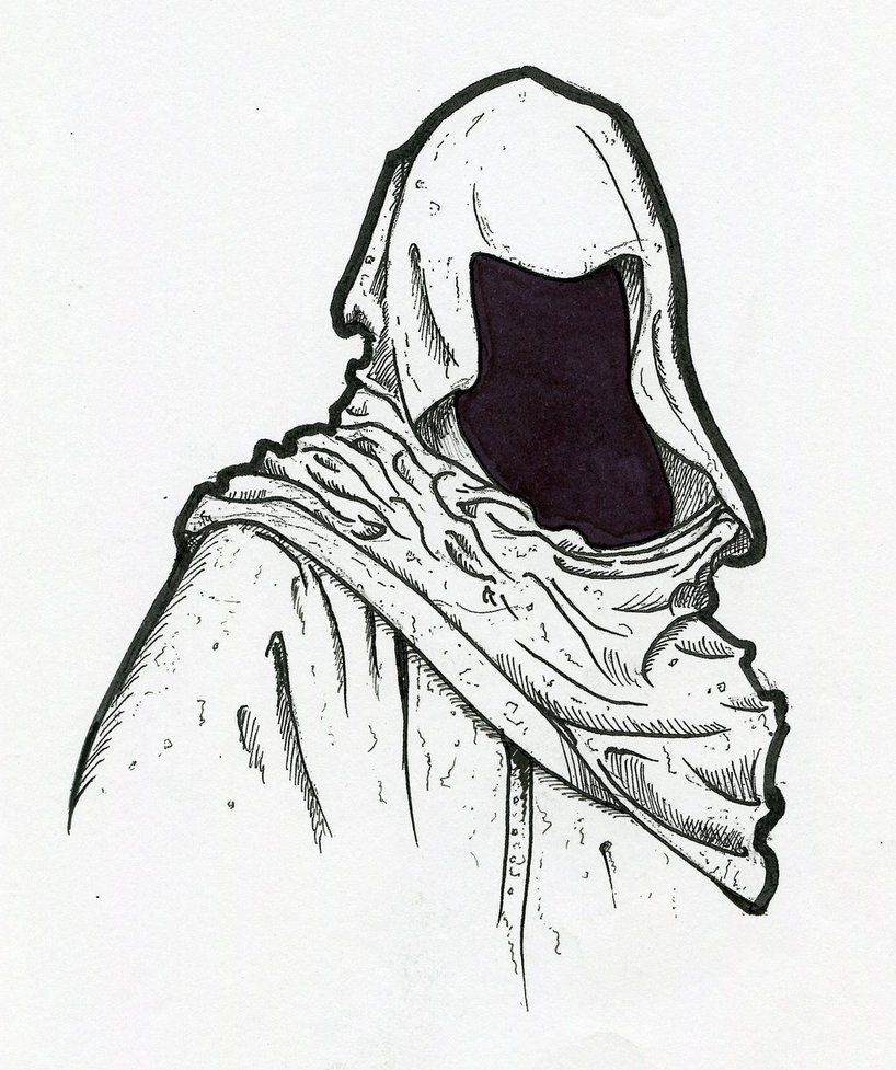 картинка карандашом человека в капюшоне