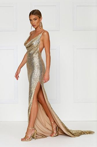 01484b78ea1 City Sparkler Gold Sequin Spaghetti Strap Sleeveless Cowl Neck Backless  Side Slit Maxi Dress Gown