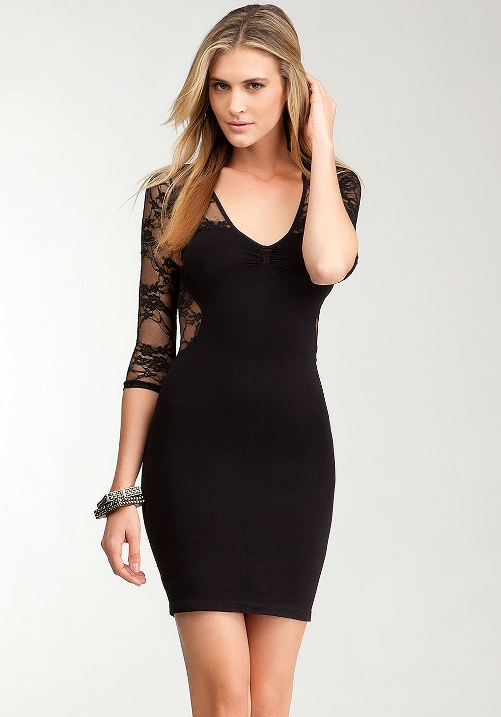 bebe | Lace Inset 3/4 Sleeve Bodycon Dress - ONLINE EXCLUSIVE - View ...