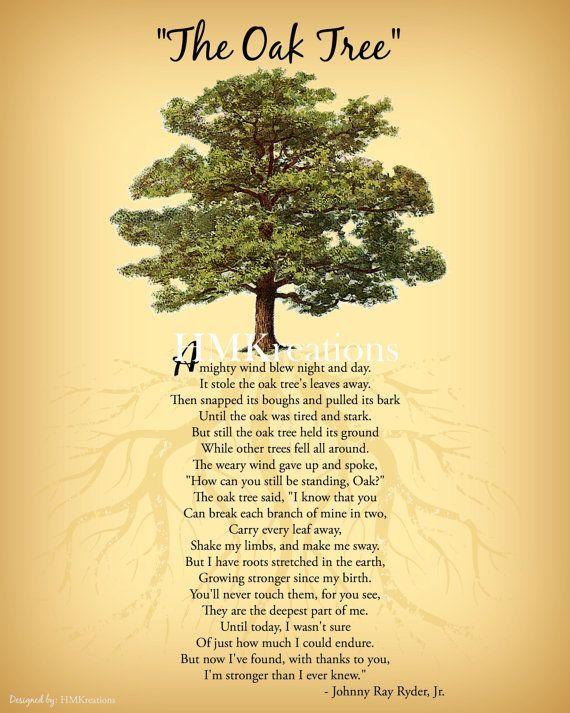 Oak Tree Poem | Encouraging Tree Poem Quote | Nature Wall Art ...