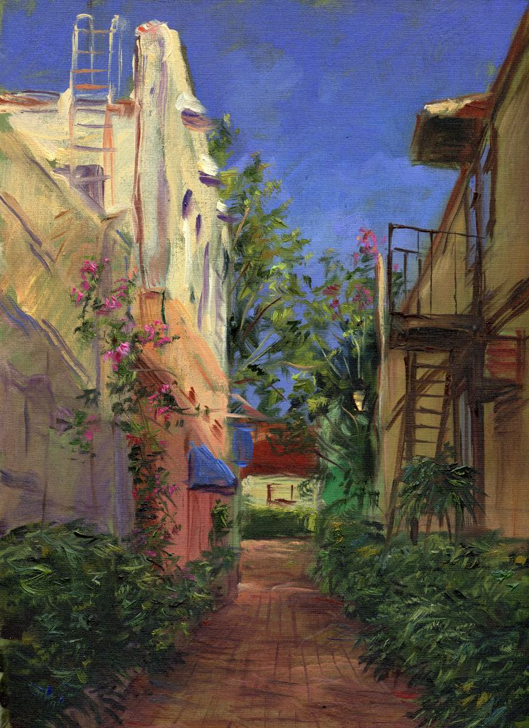Aviles Street Alley St Augustine Fl Oil Painting By