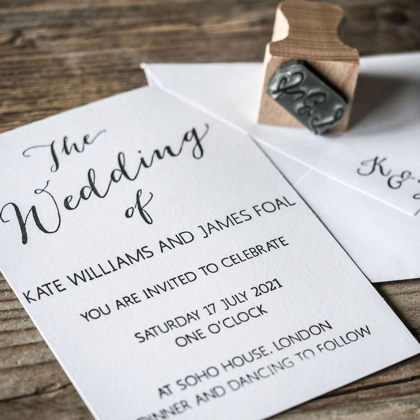 Our new Calligraphy Wedding Invitation rubber stamp, team