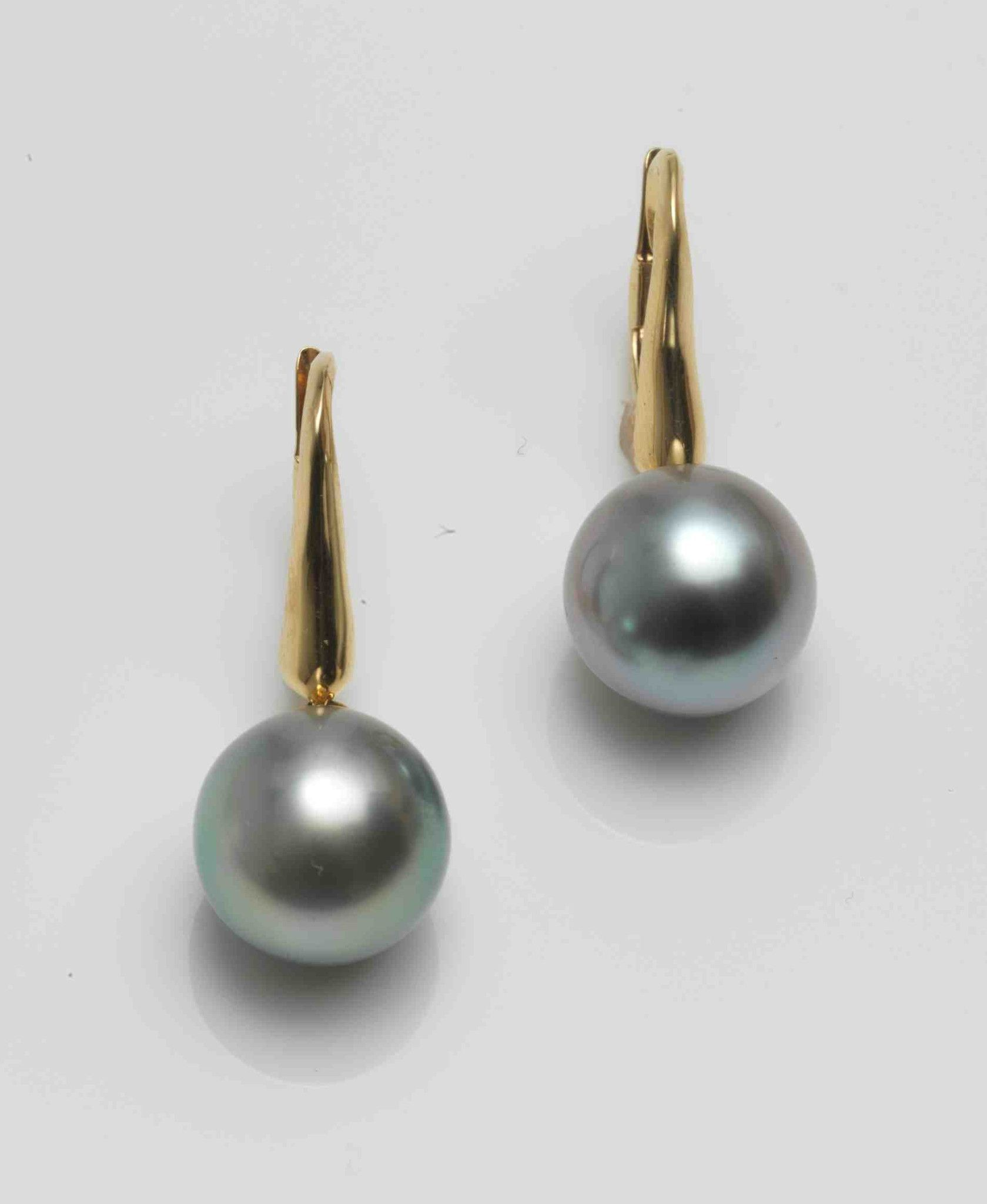 Earring Pearl Collection Natural Color Tahitian Cultured Pearls Drops From 18k Gold Measure 12 3 X 11 Designer Ael