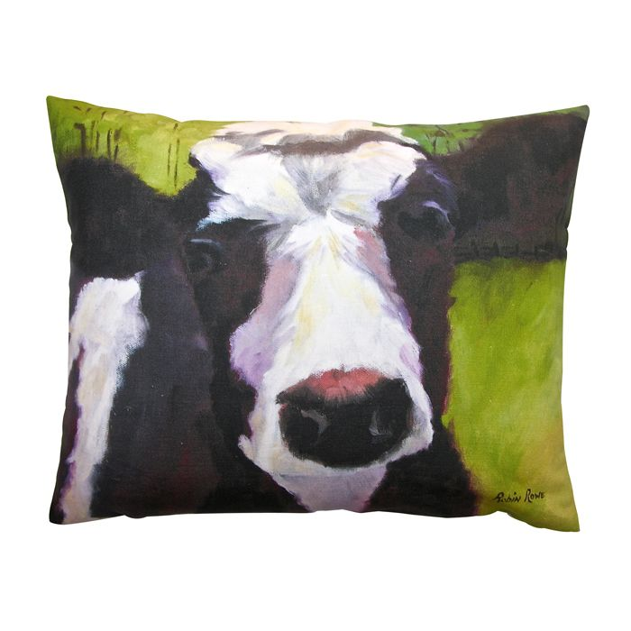 An easy, breezy way to add freshness and color to any room in your home is with Indeed Decor's Lucy the cow accent pillow.