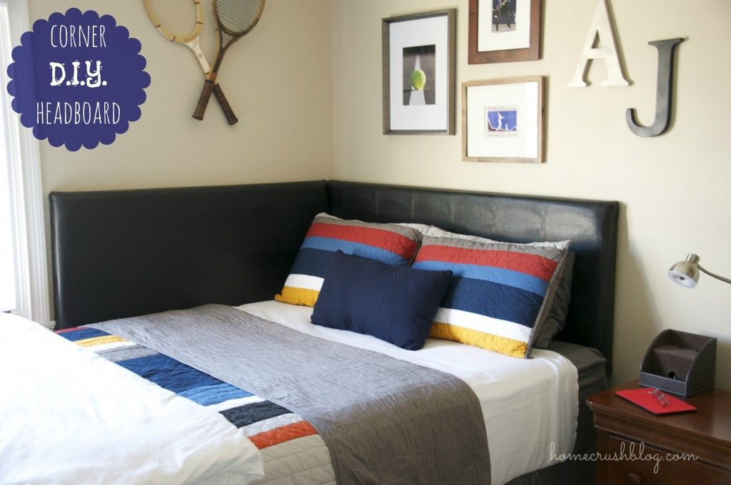 Wonderful Black Faux Leather Wall Headboard Corner Bed With White Covers Also Cool Pillows As Well As Portray Wall Bedroom Decors In Boys Bedding Designs & DIY corner headboard -- so cozy and perfect for our small guest ... pillowsntoast.com