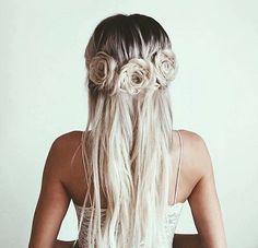 Braided hair : rosettes : hair flowers : hippie hair : bohemian hair : blonde