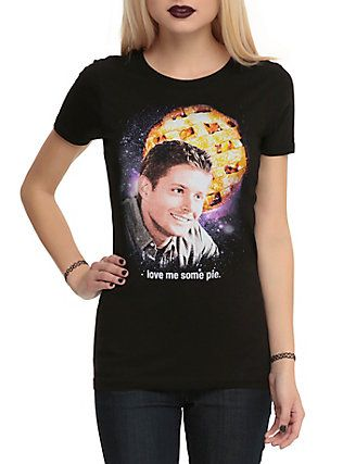 Supernatural Love Me Some Pie Girls T-Shirt, BLACK