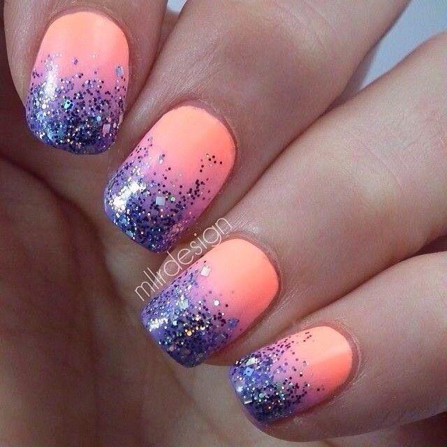 26 Spring Acrylic Nail Designs Ideas: Glitter Tip Nails, Nail Designs, Spring