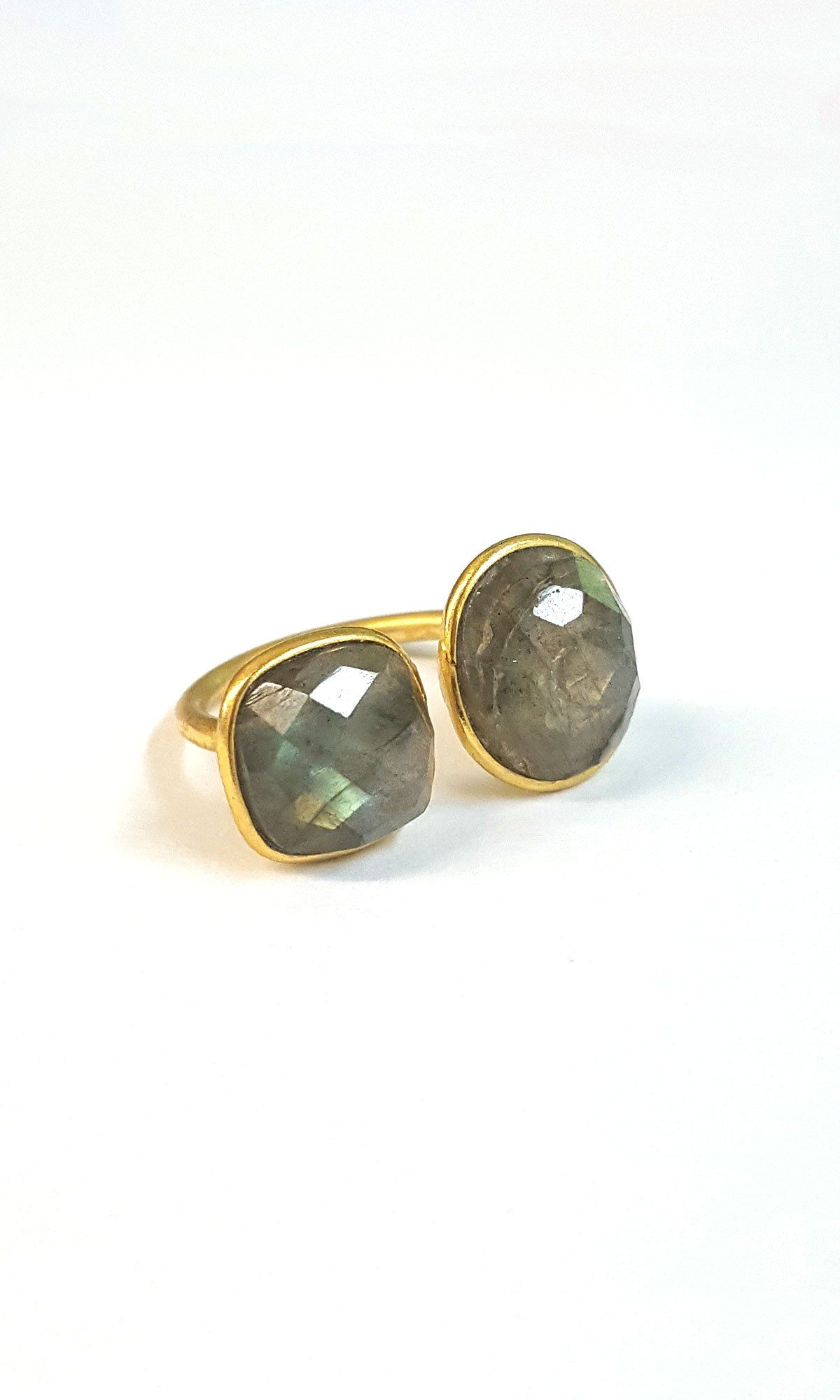 8df3023bd3ebc Double Stone Ring - Labradorite | Zoe Products | Stone rings ...