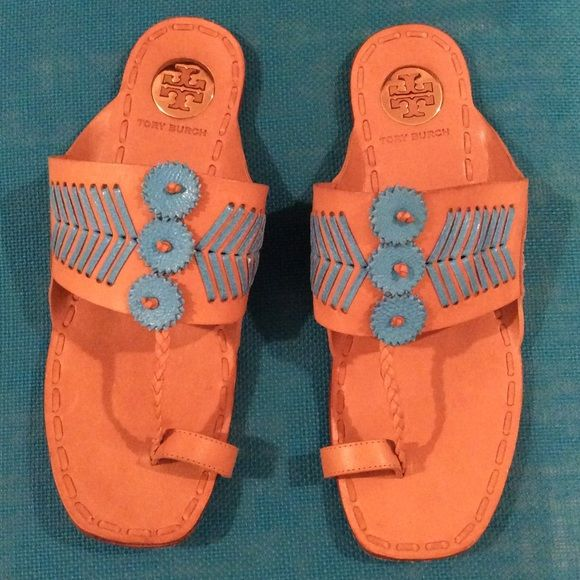 TORY BURCH TOE-RING SANDALS Beautiful pair of tan and blue leather TORY BURCH toe ring sandals in a size 8M. Only wear is seen on the soles. These are hard to find now and a great deal! Also selling the same pair in pink and in a heeled version! Bundle and save!  Tory Burch Shoes Sandals