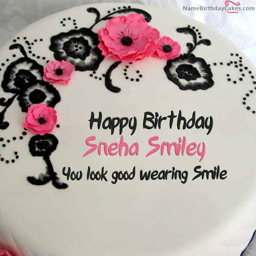 I Have Written Sneha Smiley Name On Cakes And Wishes On This Birthday Wish And It