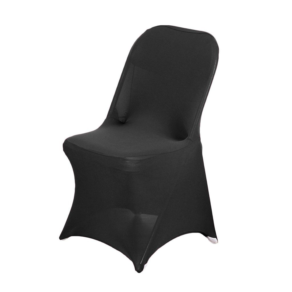 Black Spandex Stretch Folding Chair Cover In 2020 Folding Chair Covers Chair Covers Folding Chair