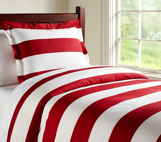 Rugby Stripe Duvet Cover & Shams | Striped duvet covers, Red duvet
