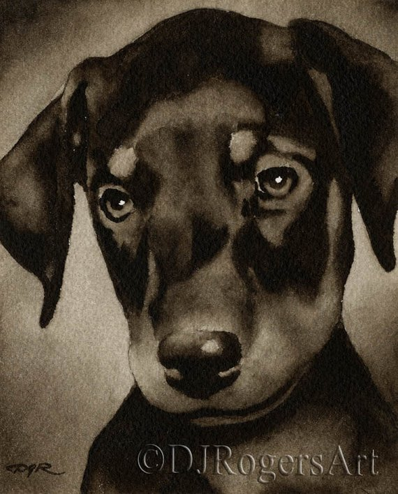 Bloodhound Art Print Sepia Watercolor Painting by Artist DJR