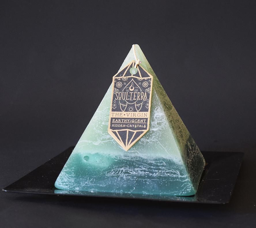 The Virgin Virgo Crystal Pyramid Candle Soul Terra Pyramid Candle Crystal Pyramid Virgo Discover a hidden amethyst gemstone inside this sacred shaped pyramid candle from soul terra. virgo crystal pyramid candle