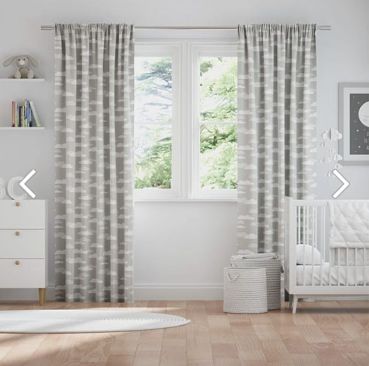 Fluffy Clouds Grey Curtains In 2020 Childrens Curtains Grey Curtains Curtains