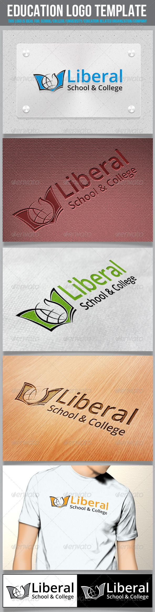 Education Logo Template — AI Illustrator #school #business ...
